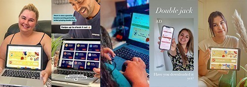 DoubleJack.Online Influencers on Instagram supporting charity social gaming